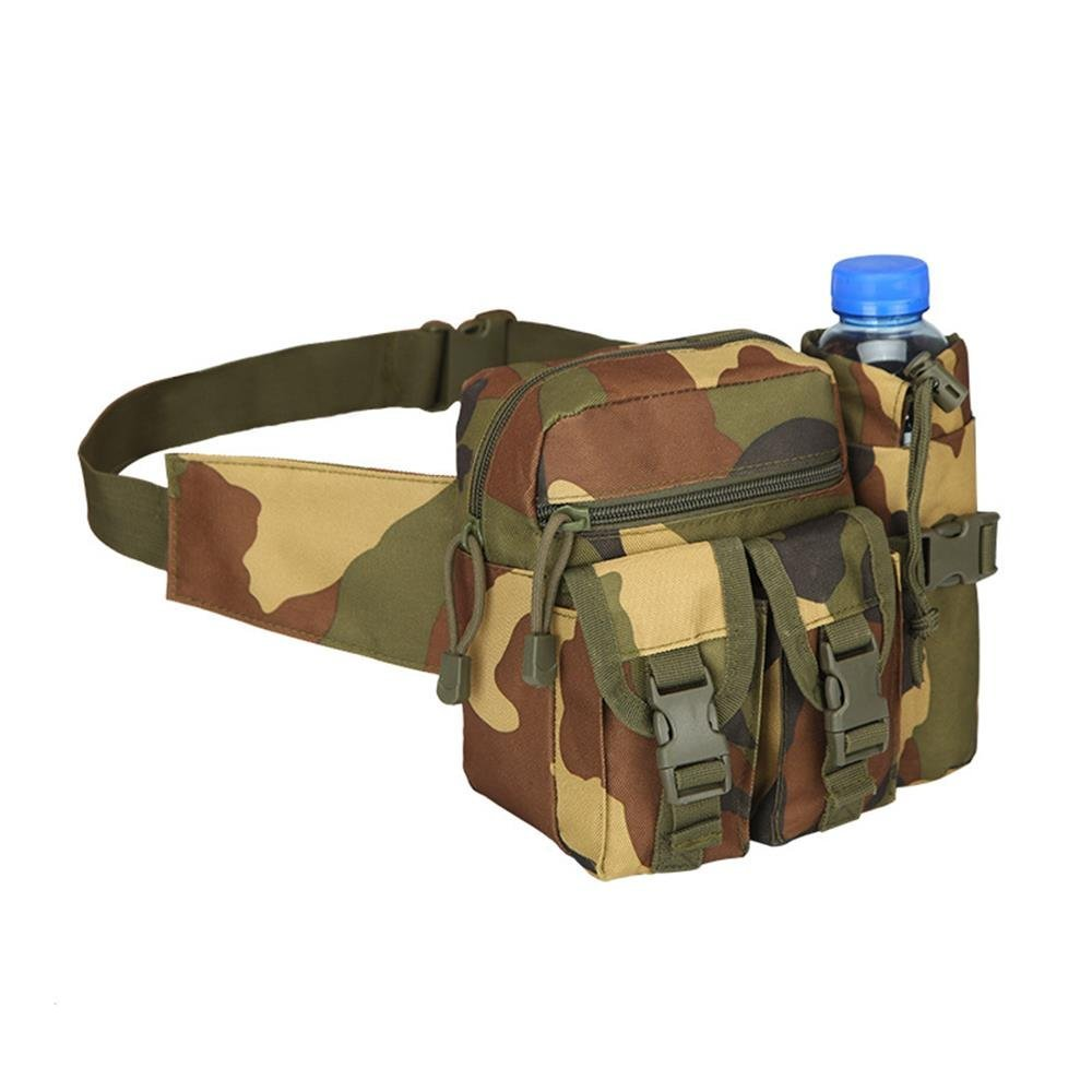 Teammao Tactical Waist Pack Fanny Pack Military Waist Bag with Water Bottle Holder Cycling Camping Hiking Hunting Fishing (Jungle 2)