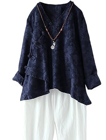 MatchLife Damen Leinen Tunika Jacquard Oberseiten Vintage Bluse Unregelmäßiger Tops