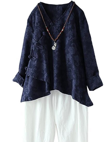 plutôt sympa d681d 267b7 MatchLife Femme Tunique Manches Longues en Lin Top Classe T-Shirt Model  Chinois Col V