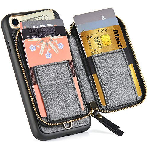 iPhone 8 Wallet Case, iPhone 7 Wallet Case, ZVE iPhone 7 Case/iPhone 8 Case with Card Holder, Protective Wallet Leather Case With Credit Card Holder Slot for Apple iPhone 7/8 4.7 inch - Black by ZVE (Image #3)