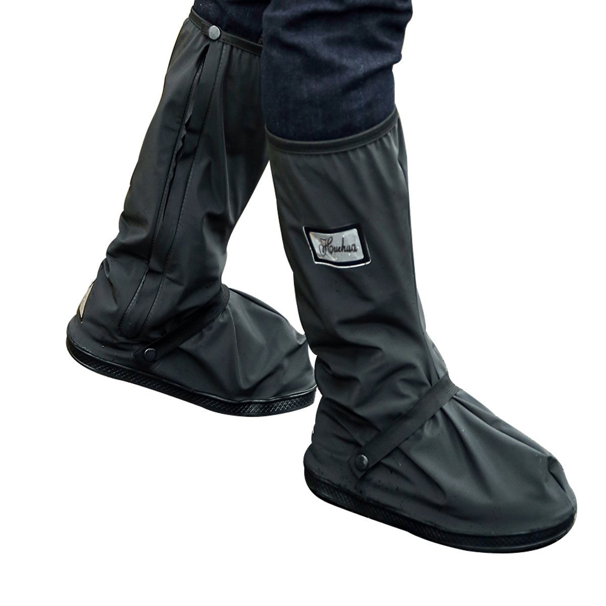 Rain Boots Covers, Waterproof Shoes Cover with Sturdy Zippers and Reflective Heels (XL)