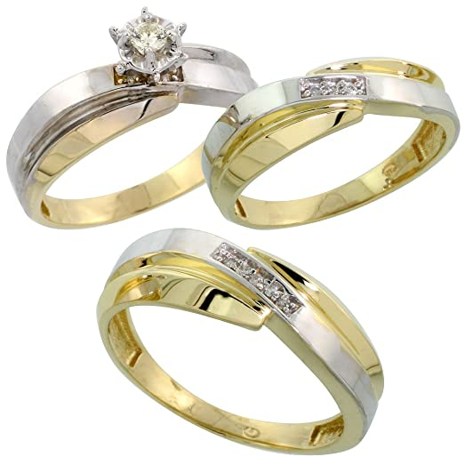gold plated sterling silver diamond trio wedding ring set his 7mm hers 6mm ladies - Sterling Silver Diamond Wedding Rings