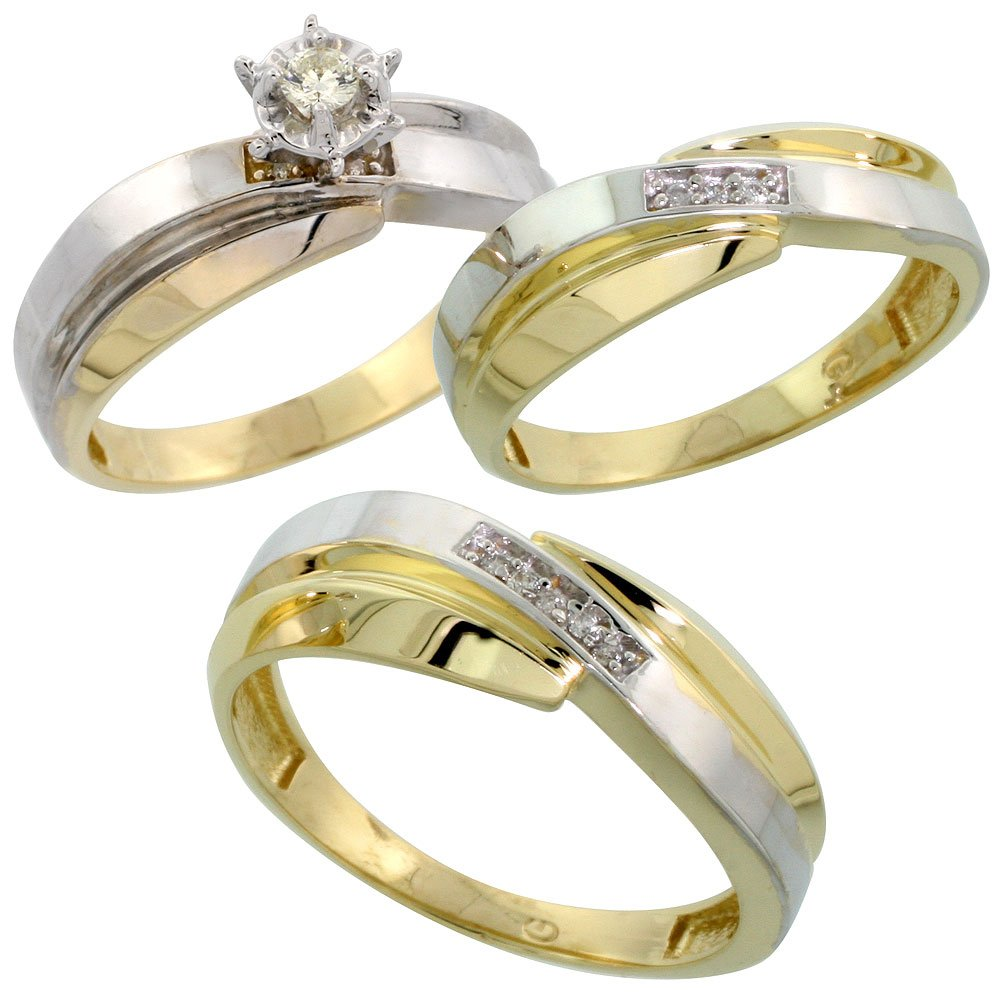 Gold Plated Sterling Silver Diamond Trio Wedding Ring Set His 7mm & Hers 6mm, Ladies Size 7