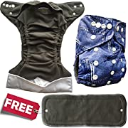 Basil the Blue Cloth Diaper Cover One Size with Gussets Fits Newborns and Toddler-proof Comes with a Free 4-layer Bamboo Charcoal Snap-in Insert, My Little Blue Jeans