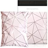 Poly Mailers x Rose Gold - 10X13 (100 Pack) Luxury Champagne Pink Geometric Pattern Poly Bags - Self Seal - Plastic Custom Ma
