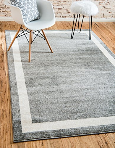 Unique Loom Del Mar Collection Contemporary Transitional Gray Area Rug (5' 0 x 8' 0) - This rug is perfect for those high traffic areas in your home. It's also kid and pet friendly! This rug is waterproof, mold and mildew resistant, stain resistant, and does not shed. Cleaning Instructions:  As long as it's a short-pile, indoor rug, we recommend spot cleaning with resolve, and regular vacuuming is recommended. You can use a carpet cleaner (shampooer) but it should be dried immediately and evenly. - living-room-soft-furnishings, living-room, area-rugs - 61AlyxMYV0L -