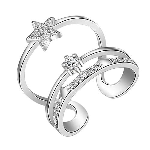impression1pcs Anillo de diamantes anillo de diamantes abierto Vintage Hollow Diamante Joyas Accesorios Mujer Abierto Anillo