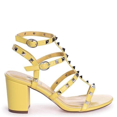 c1246ca4ef9 Linzi Tessa - Yellow Studded Block Heeled Sandal  Amazon.co.uk  Shoes   Bags
