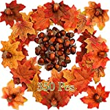 FEPITO 350 PCS Autumn Table Decorations Scatters Set, 300 Pieces Artificial Maple Leaves Fall Leaves with 50 Pieces Artificial Acorns for Autumn Fall Party Decorations Thanksgiving Day Decorations