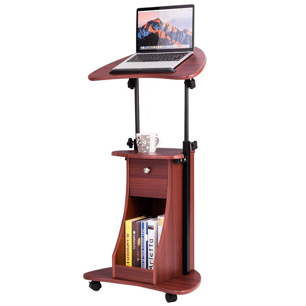 Tangkula Laptop Cart, Adjustable Height and Swivel Top Lectern Podium Desk Cart, Rolling Standing Notebook Laptop Table Cart, Portable Mobile Computer Desk with Storage Drawer (Natural)