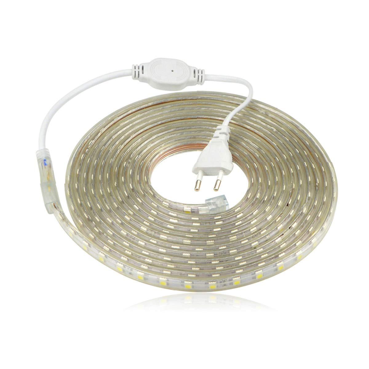 Ruban LED 220V AC 5050 IP68 étanche, High Bright Three Chips, LED Strip Light Très Lumineux Bandeau (12m) DUVERT