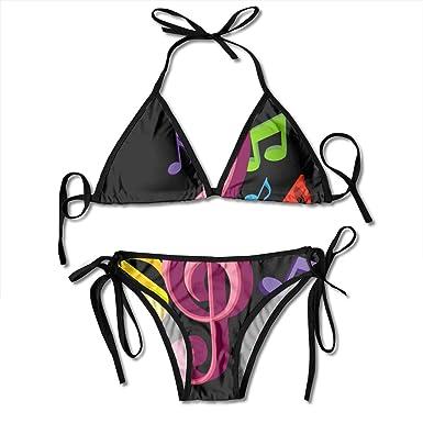 Amazon com: PIOL Colorful Music Symbols Swimsuits Bikinis Thong