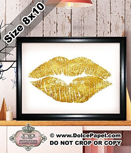Shimmery Metallic Gold Glitter FOIL LIPS KISS MARK Girly Modern Art Deco Framed Art Print Size 8x10 Black Frame