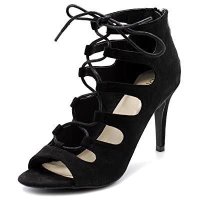 Ollio Womens Shoe Lace-up Gladiator High Heel Bootie | Heeled Sandals