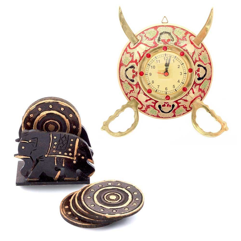 Little India Buy Brass Sword Armour Clock n Get Tea Coaster Free