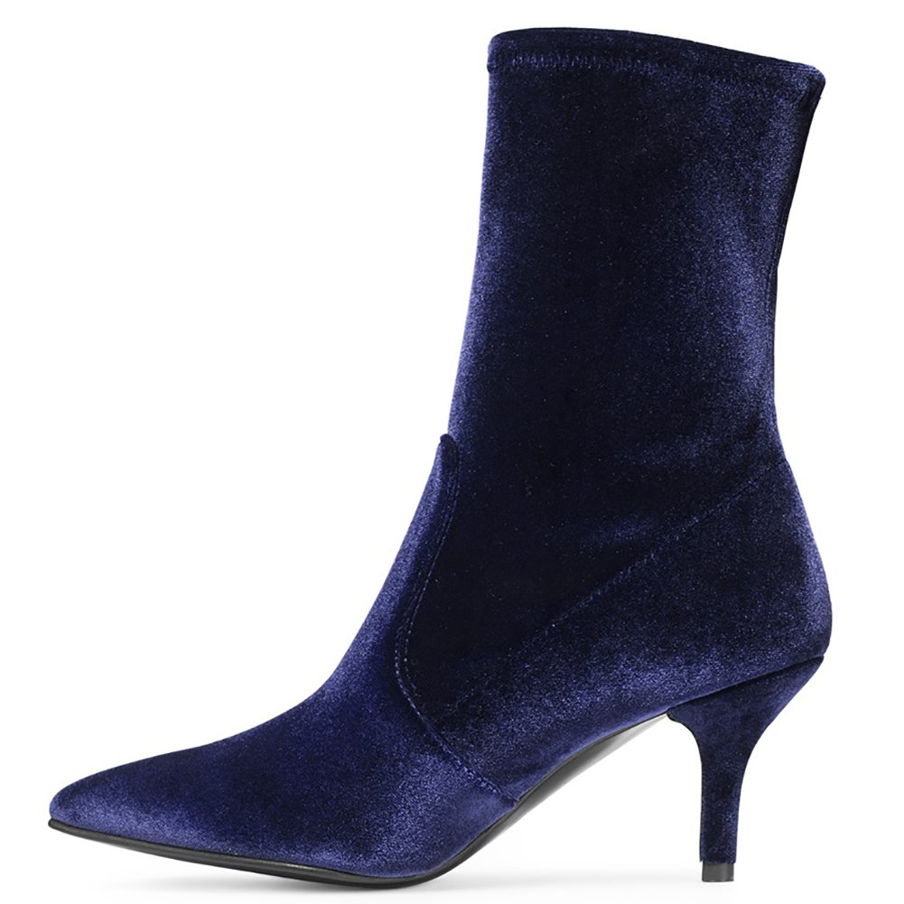 Sock Boots for Women,Women's Slip On Pointed Toe Mid Calf Boots Stretchy Suede Kitten Heel Booties B078RDTJWT 8.5 B(M) US|Navy Velvet-6.5cm