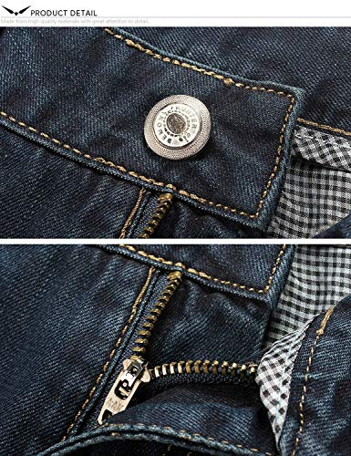 Scuro Vintage Taglio Battercake Da Blu Denim Pantaloni Nostalgia Dritto Dritti Casual Comodo Jeans Gamba Uomo A6Xwqf6
