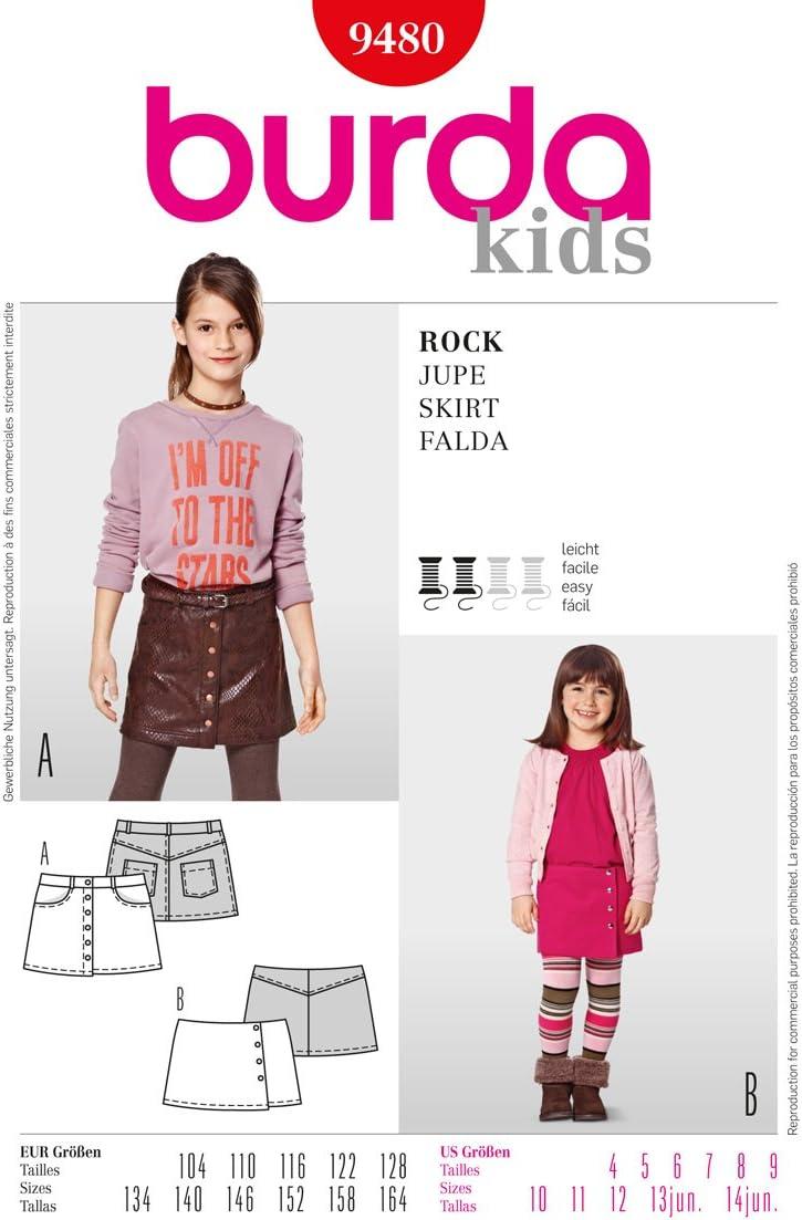Burda 9480 - Patrón de Costura para niños (Tallas de Falda: 4-14 ...