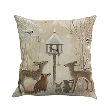 Snowfoller Old Style Christmas Pillowcases, Elk Printing Dyeing Sofa Bed  Home Decor Super Soft Throw