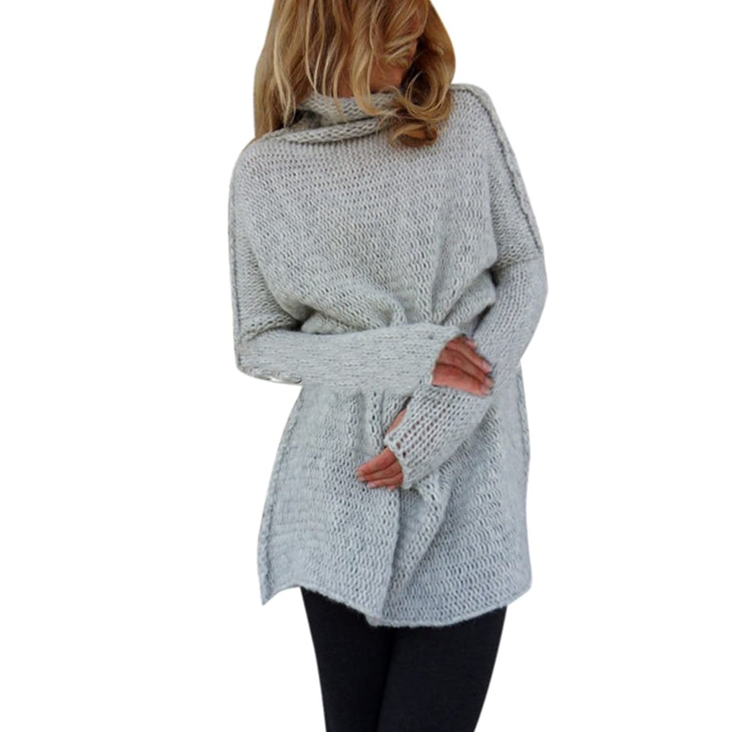 Colorfulworld Women's Fashion Sweater High-Necked Long-Sleeved Knitted Pullover Jumper Knitwear