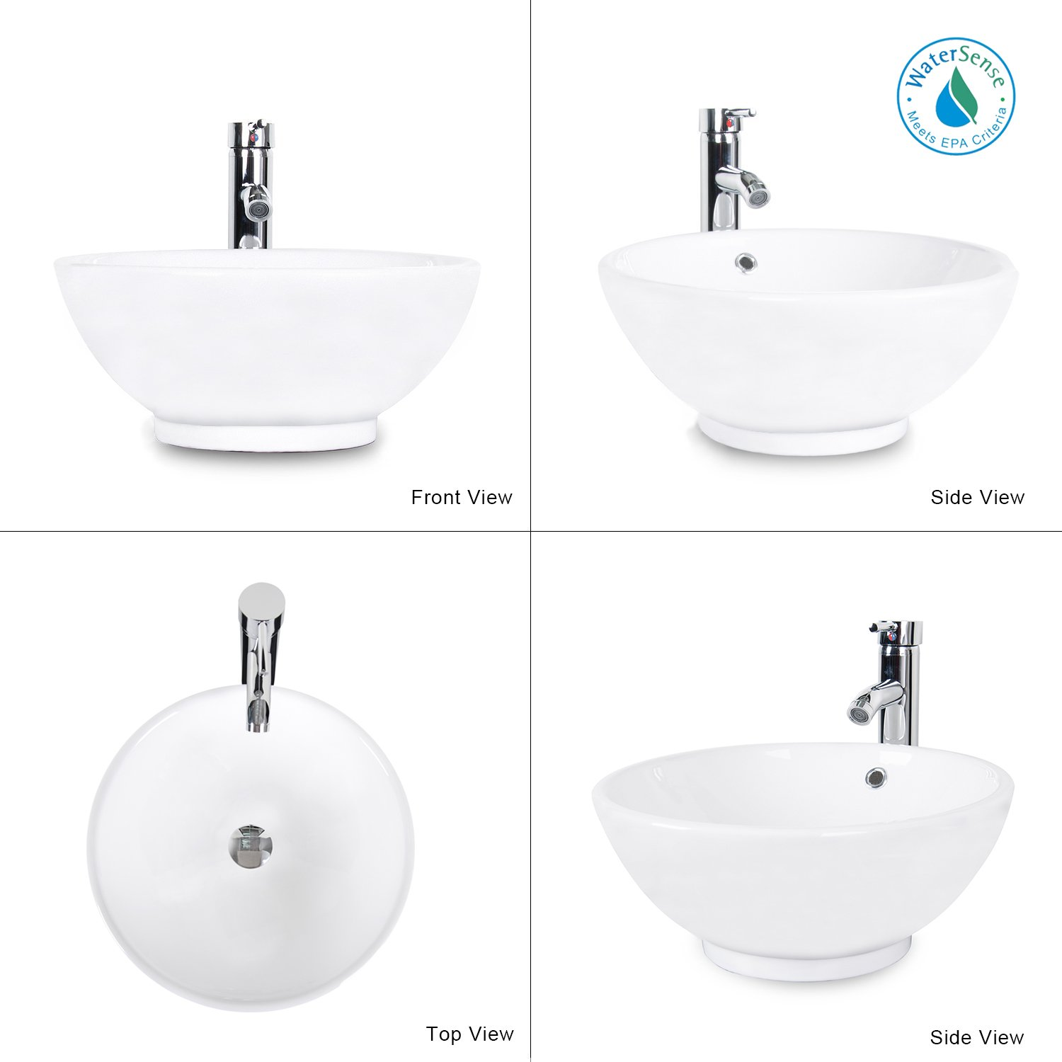 Bathroom sink top view - Eclife 24 Modern Bathroom Vanity And Sink Combo Updates Stand Cabinet And White Round Ceramic Vessel Sink With Overflow And Chrome Bathroom Solid Brass
