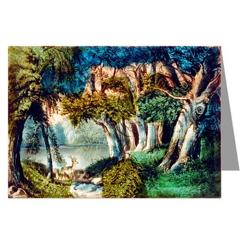 (12 Notecards of Currier And Ives Handcolored Lithograph depicting the scene