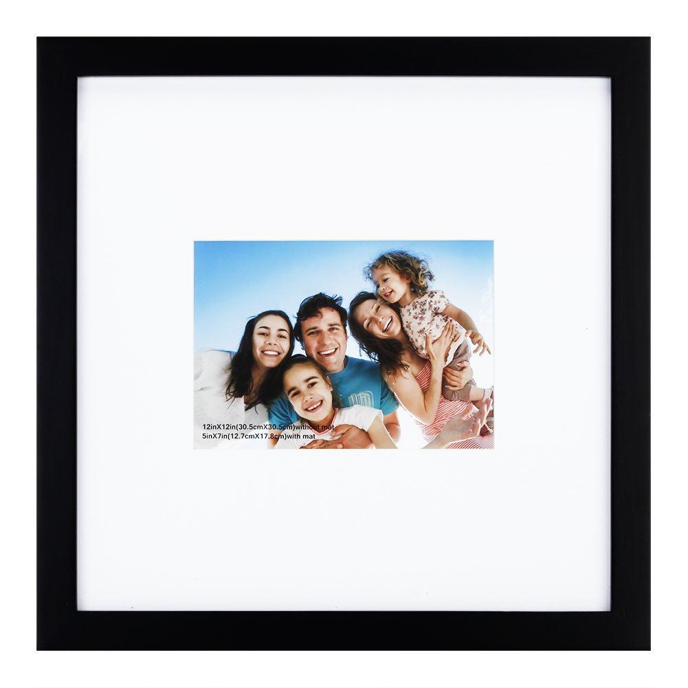 RPJC 12x12 inch Picture Frame Made of Solid Wood and High Definition Glass Display Pictures 5x7 with Mat or 12x12 Without Mat for Wall Mounting Photo Frame Black by RPJC