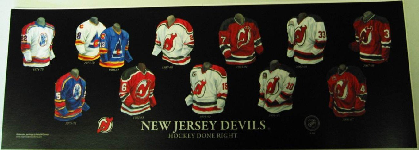 Amazon.com  Framed Evolution History New Jersey Devils Uniforms Print   Posters   Prints dc1902449