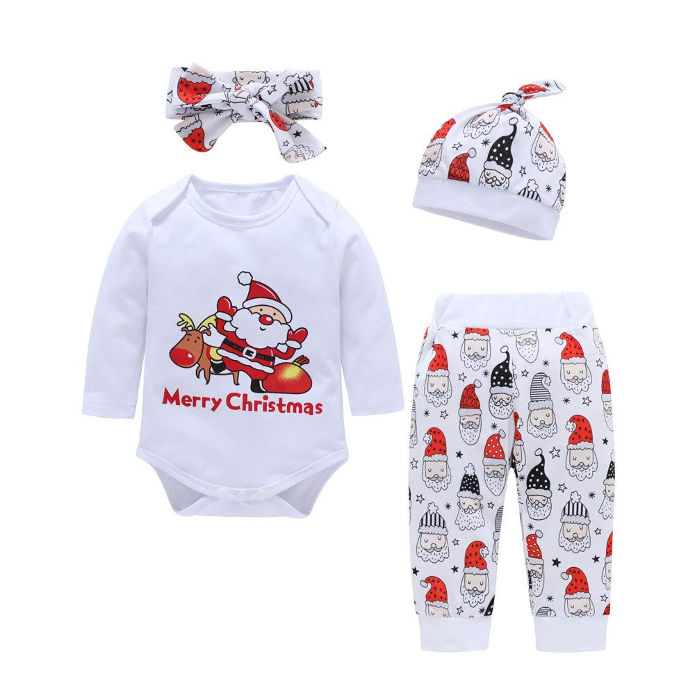 FeiliandaJJ Baby Clothing Set, 4Pcs Infant Toddler Baby Boy Girl Christmas Print Blouse+Pants+Hat +Headband Xmas Outfits Clothes