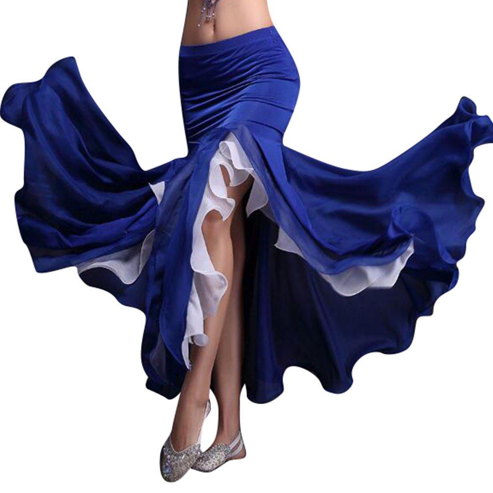 YiJee Damen Dancewear Bauchtanz Rock Split Doppelte Farbe Belly Dance Maxi Röcke