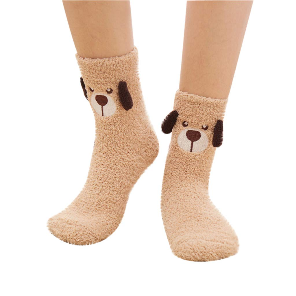1Pair SANGQU Winter cartoon warm sleep towel socks floor coral velvet stocking