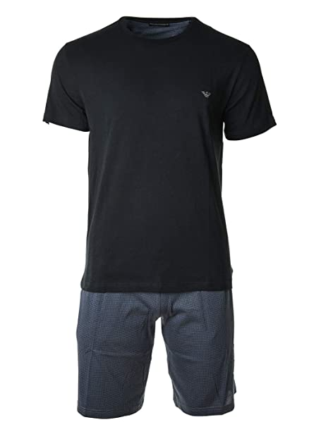 Emporio Armani Pijama de Hombre, Corto, Manga Corta, Liso con Estampado, S