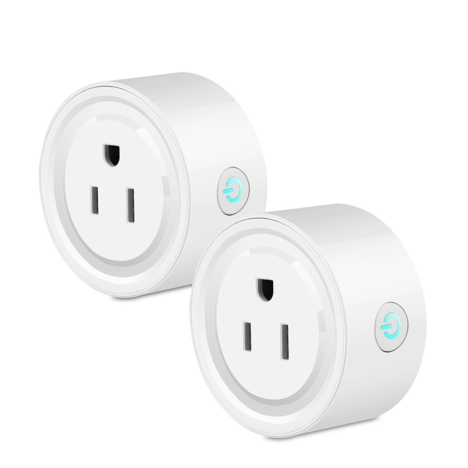 Smart Wifi Plug Outlet Compatible with Alexa, Google Home IFTTT Technuv 2 Packs Mini Socket Timing Function No Hub Required for iOS Android Smartphone Tablet Voice and Remote Control