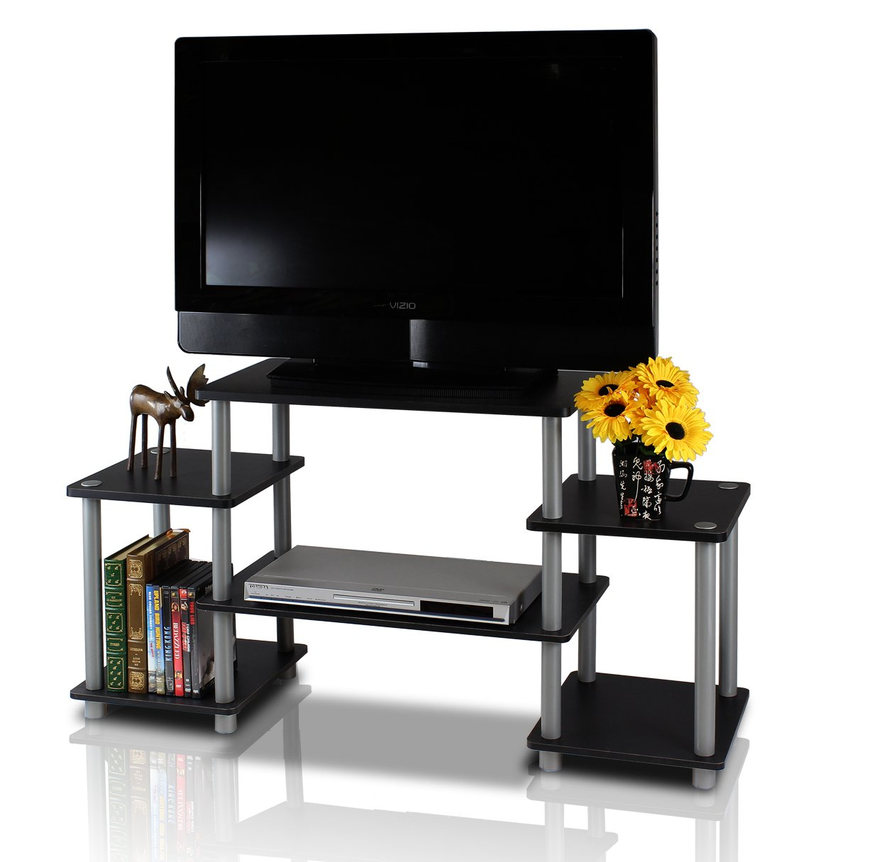 Amazon.com: Furinno 11257BK/GY Turn N Tube No Tools Entertainment TV Stands,  Black/Grey: Kitchen U0026 Dining