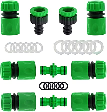 Amazon Com Garden Hose Connectors And Fittings Plastic Garden Hose Tap Connector Kit Hose Pipe Connector 2 Double Male Connector 6 Hose 1 2 End Quick Connect 2 Hose Tap Connector 1 2 Inch 21mm And 3 4 Inch