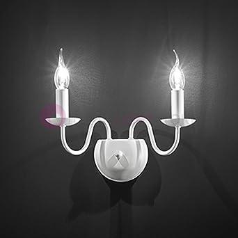 fiammingo lampada parete 2 luci bianco opaco 2xe14 stile ... - Parete Soggiorno Stile Provenzale 2