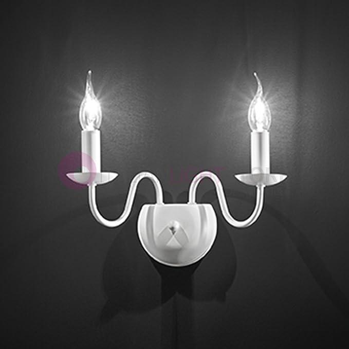 Lámpara de pared Fiammingo con 2 bombillas de color blanco ...