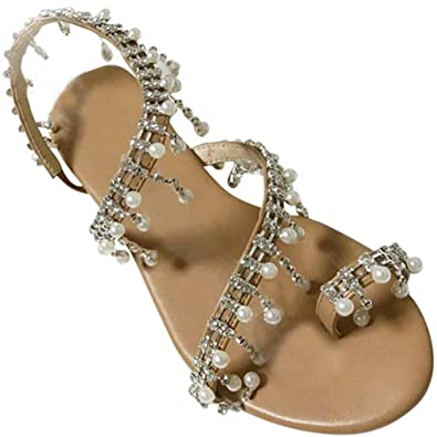 b45f4b5fe NuonuoCo Women's Toe Ring Pearl Sandals Bohemia Summer Sandals Beaded Flat  Sandals for Women Wedding Sandals