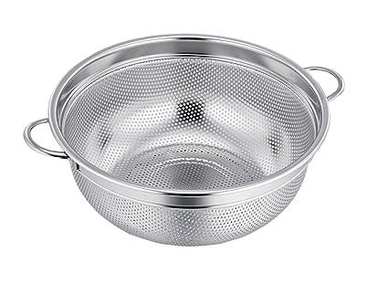 TeamFar Colador de acero inoxidable con asa de metal, microperforado, 21 cm de ancho, colador para frutas, verduras, pasta; se puede lavar en ...