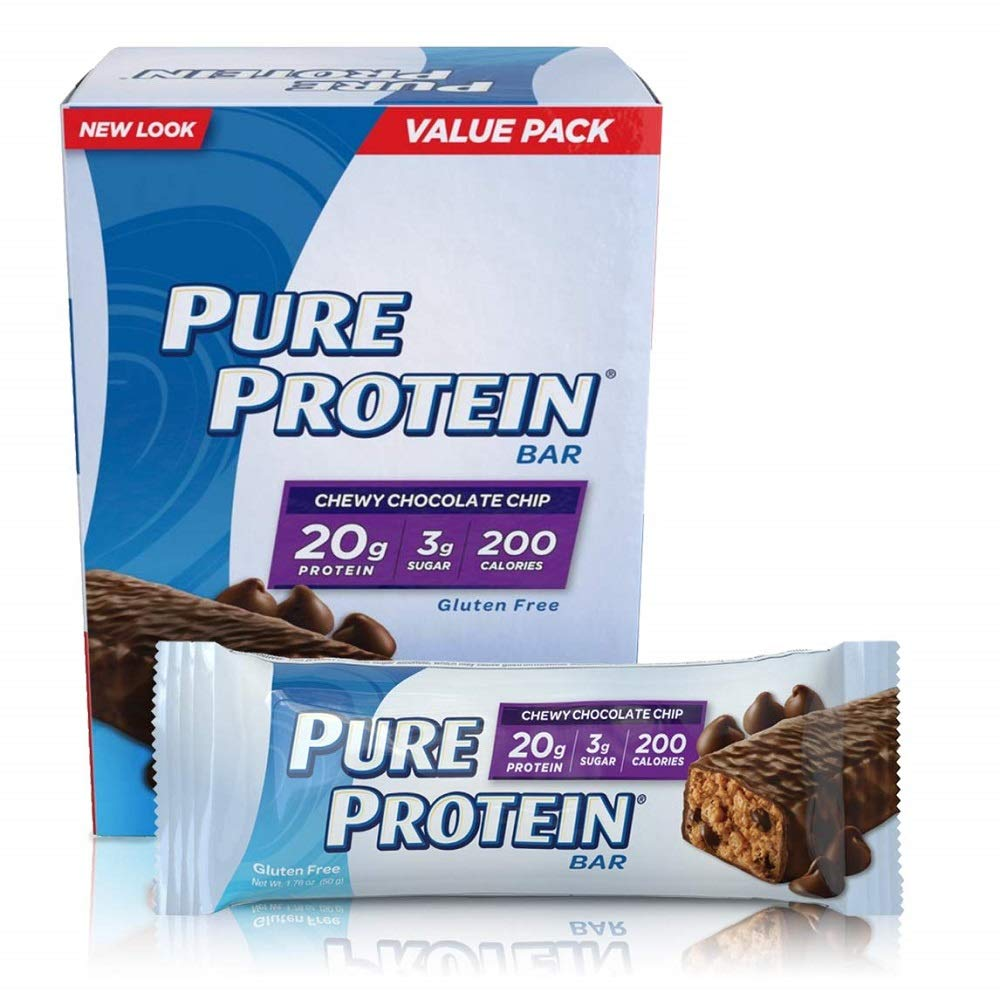 Pure Protein Bars, High Protein, Nutritious Snacks to Support Energy, Low Sugar, Gluten Free, Chewy Chocolate Chip, 1.76oz, 12 Pack by Pure Protein