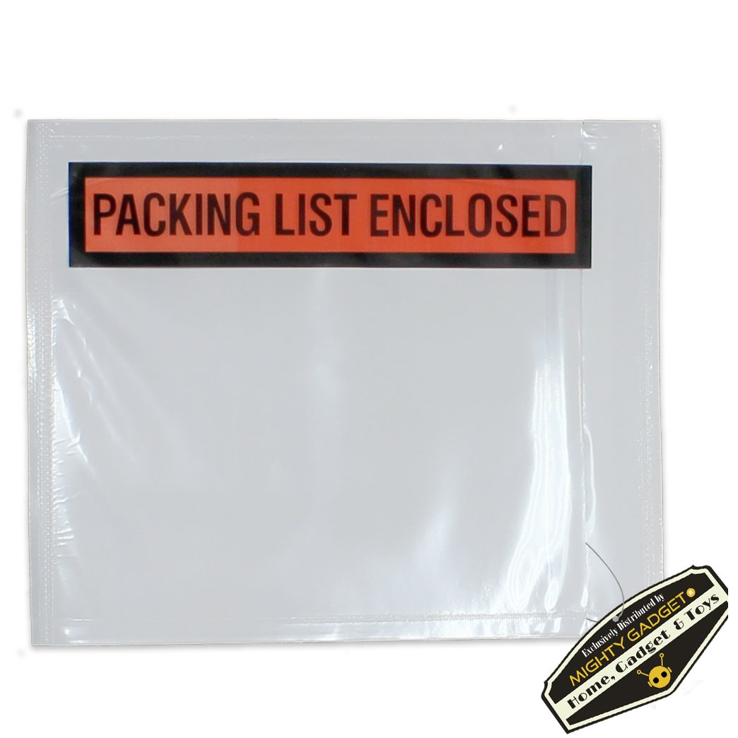 """500 Pack of Mighty Gadget (R) Light Weight Side Loading Packing List Envelopes - 4.5"""" x 5.5"""""""