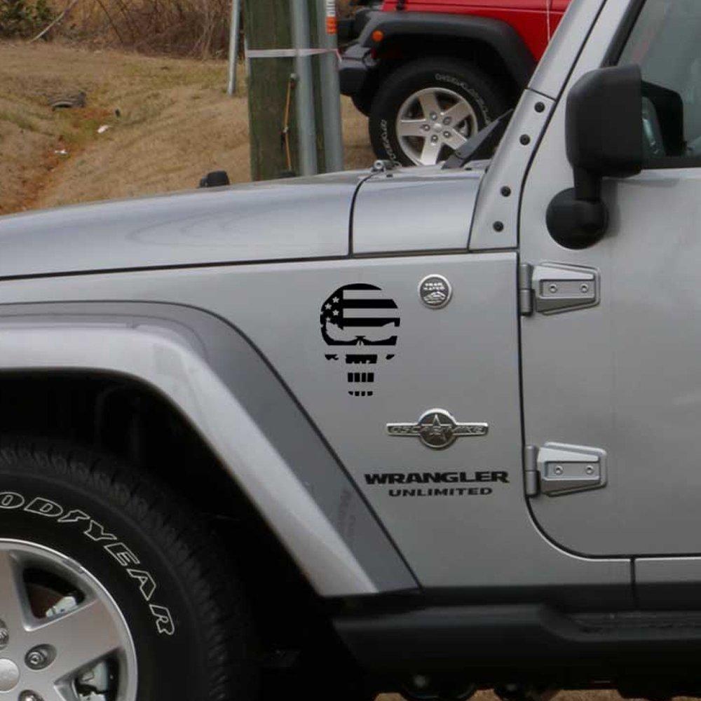 Amazon.com: Jeep Wrangler Fender decals Punisher American Flag USA pair 8