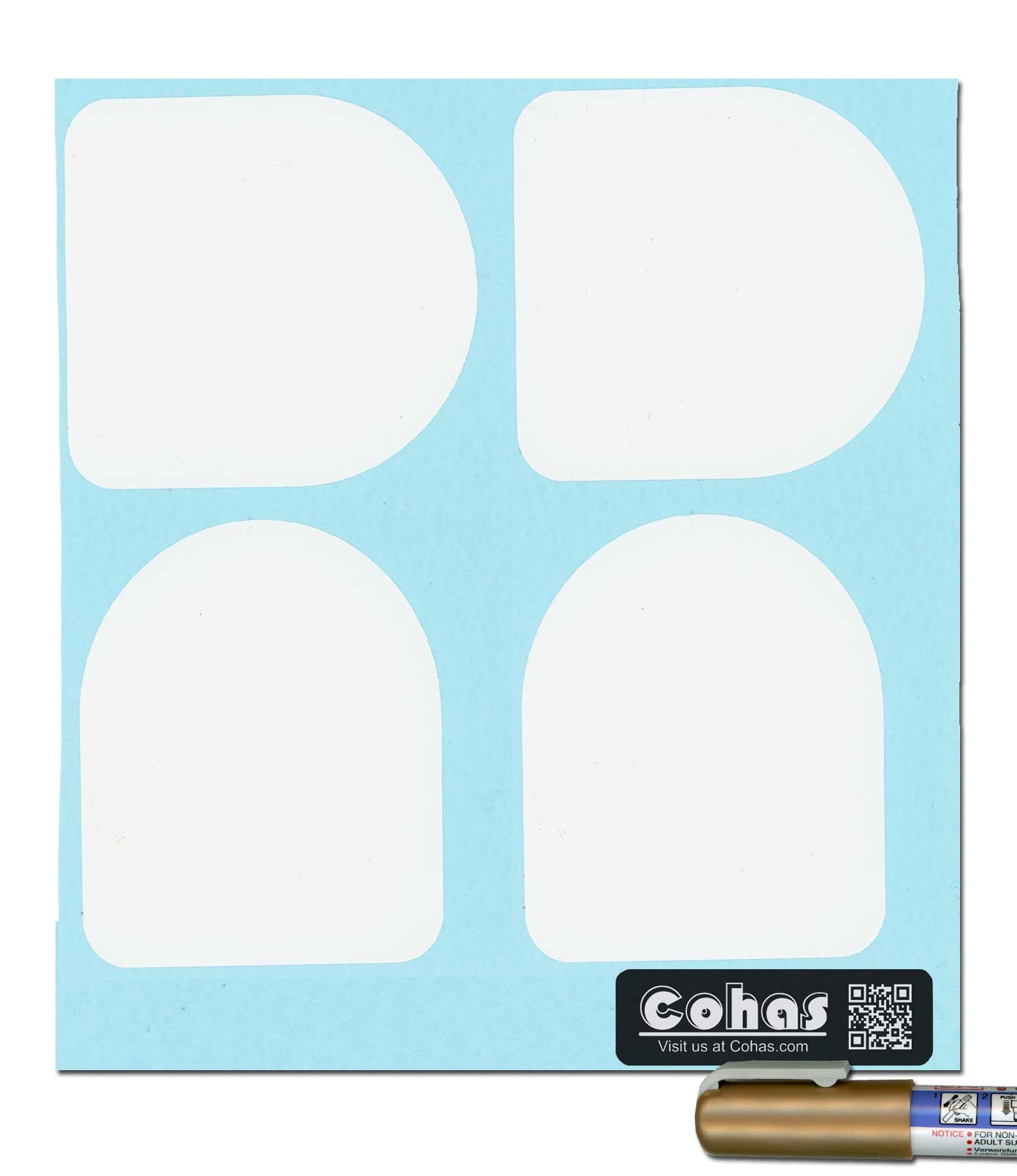 Cohas Matte White Labels for Beer Growler in Arch Shape includes Liquid Chalk Marker and 12 Labels, Fine Tip, Copper Marker