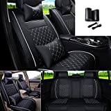 FLY5D 9Pcs Universal PU Leather Car Seat Cover Cushions Front Rear Full Set For 5-Seats BMW Honda Toyota(Black/White L)