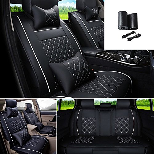- Fly5D 9Pcs Universal PU Leather Car Seat Cover Cushions Front Rear Full Set For 5-Seats BMW Honda Toyota(Black/White L)