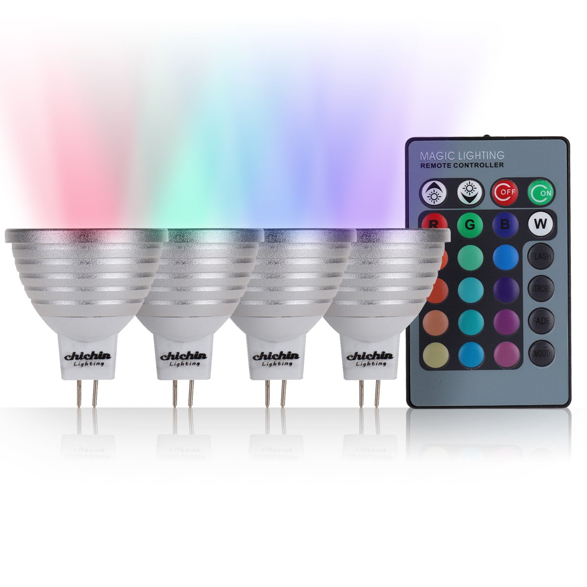 ChiChinLighting 4-Pack Color Changing Lights Mr16 Base 12 volt RGB Spotlight, 4 Color Changing led bulb controlled by one wireless 19-26 ft Long Distance Remote Controller and RGB led bulbs ChiChin International