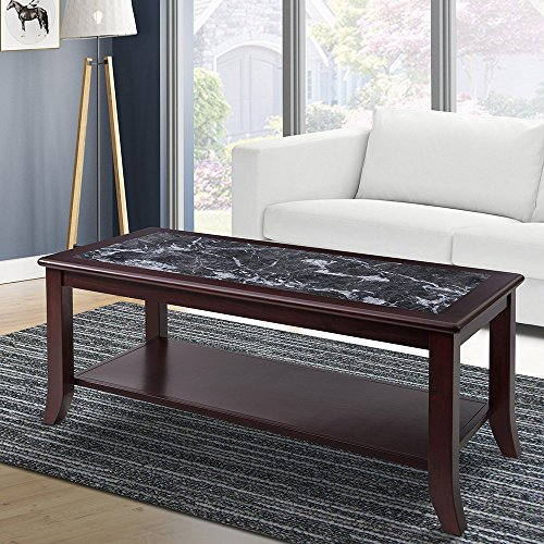 PrimaSleep Natural Marble (From Italy) Top Wood Coffee Table, Black and Dark (Brown Natural Coffee Table)