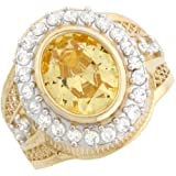 10k Real Gold Onyx/Simulated Birthstone CZ Mens Ring