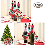 3 Pcs Wine Bottle Wrapping Cover Bags, Mini Hand Scarf Hat Bottle Decoration