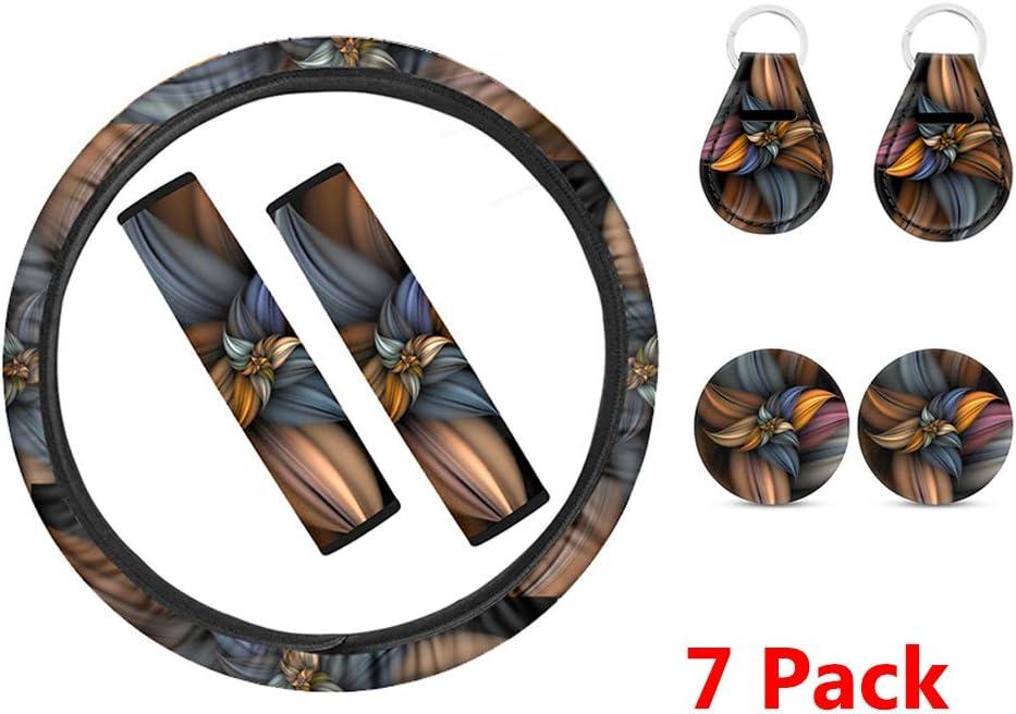 2 Piece Cup Mats 7 Piece Steering Wheel Cover,Universal Fit 2 Piece Keychain INSTANTARTS Boho Mandala Flower Printed Stylish 2 Piece Seat Belt Pads